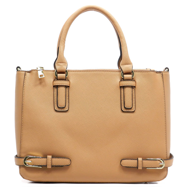 Buckle Accent Box Tote Satchel [T1510-TAN]