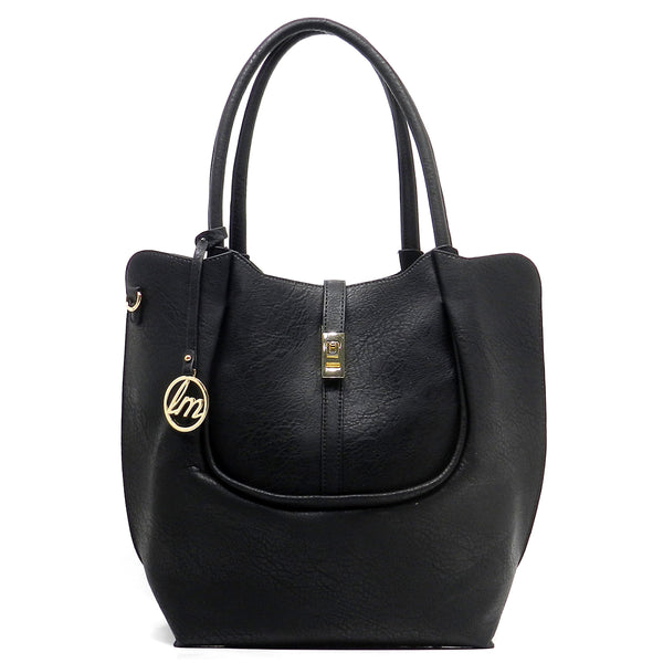 Twist Lock 2-in-1 Tote Satchel [LV027-BLACK]