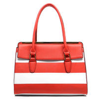 Striped Top Handle Satchel [T1541-RED]