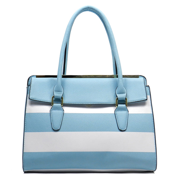 Striped Top Handle Satchel [T1541-BLUE]