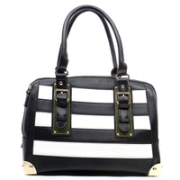 Striped Buckle Top Handle Boston Bag [ST1010-BLACK]