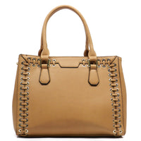 Grommets Top Handle Satchel [T1584-TAN]