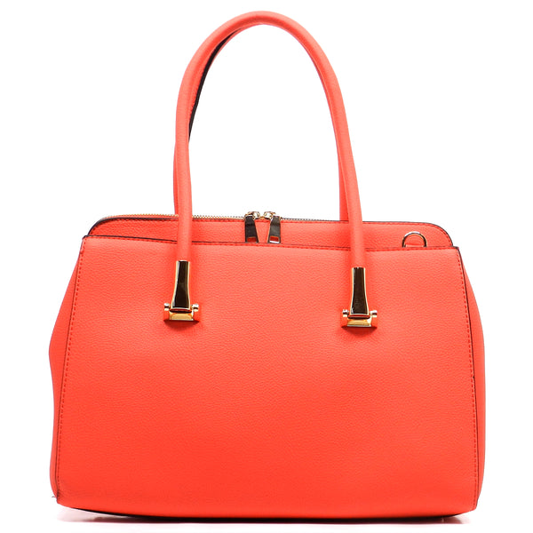 Pebble Textured Top Handle Satchel [T1568-RED]