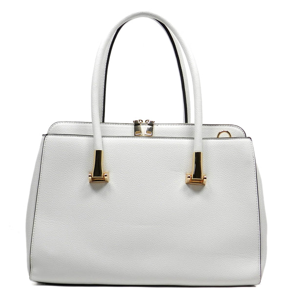 Pebble Textured Top Handle Satchel [T1568-WHITE]