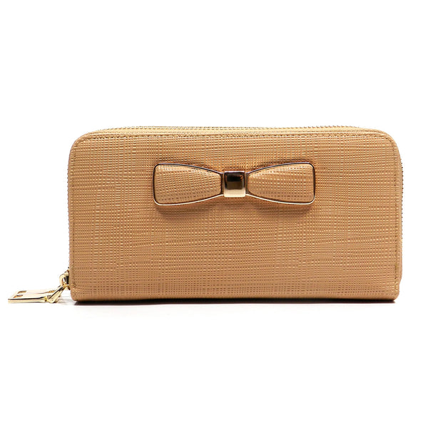 Fashion Bow Zip Around Wallet Wristlet [JD600W-BEIGE]