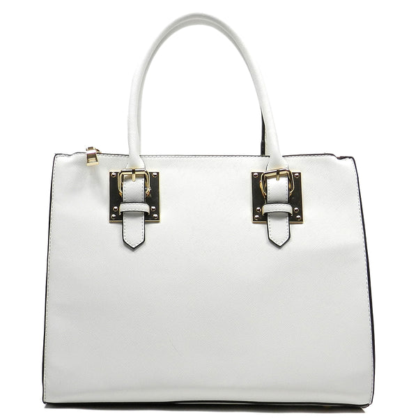 Buckle Top Handle Box Satchel [T1573-WHITE]