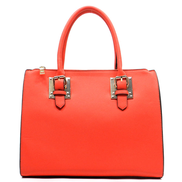 Buckle Top Handle Box Satchel [T1573-RED]
