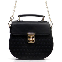 Laser Printed Polka Dots Cross Body Satchel [SL1103PS-BLACK]