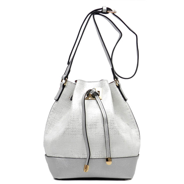 Fashion Bucket Drawstring Shoulder Bag [JU0140-WHITE]