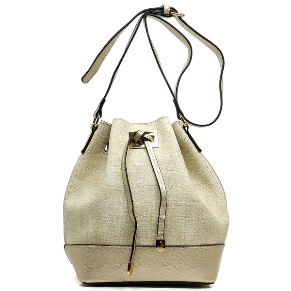 Fashion Bucket Drawstring Shoulder Bag [JU0140-BEIGE]