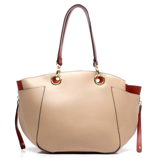 2 Toned Side Zipper Tote [S0442-TAUPE]