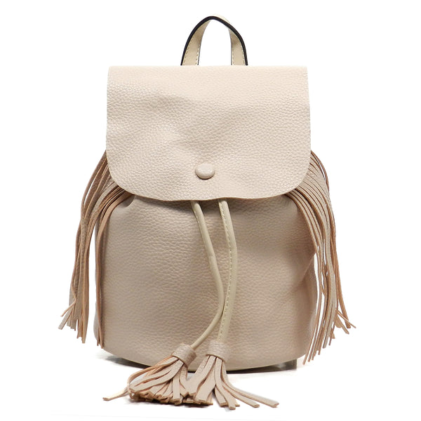 Pebble Textured Fringe Backpack [LG0016-BEIGE]