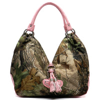 Realtree Camouflage Heart Tassel Shoulder Bag [RT1500677AAPG-L/PINK]