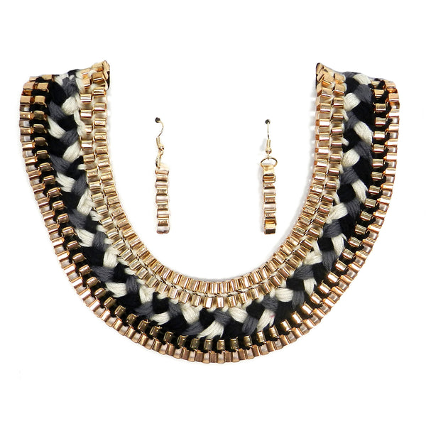 Necklace & earring set [NSF44-2770JT-BLACK]