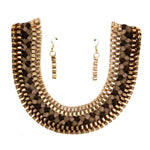 Necklace & earring set [NSF44-2770LZ-BROWN]