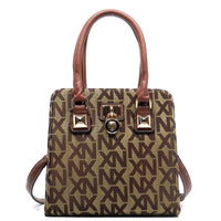 NX Jacquard Signature Padlock Cute Satchel [NJ2622-TAN]