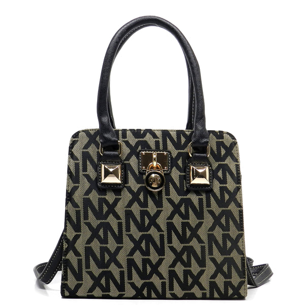 NX Jacquard Signature Padlock Cute Satchel [NJ2622-GREY]