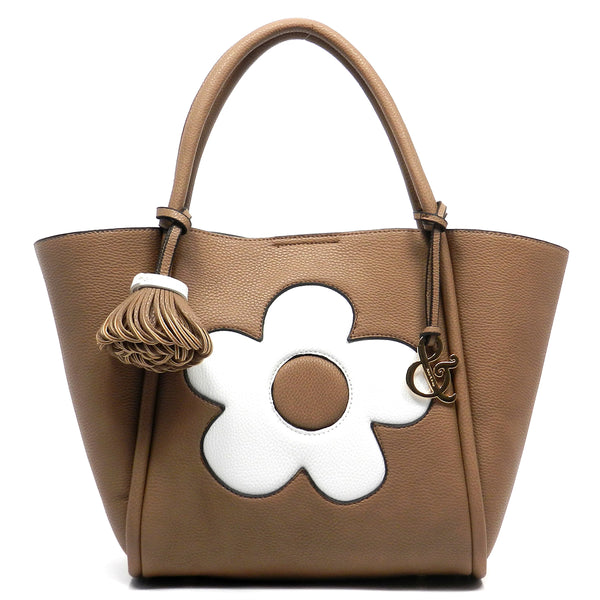 Pebble Textured Flower 2-in-1 Satchel [AJ130-COFFEE]