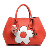 Pebble Textured Flower Satchel [AJ131-CORAL]