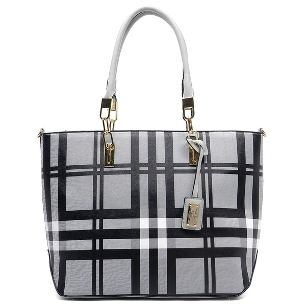 Checked Pattern Shopper Tote [E0005-GREY]