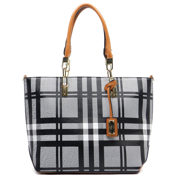 Checked Pattern Shopper Tote [E0005-TAN]