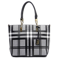 Checked Pattern Shopper Tote [E0005-BLACK]