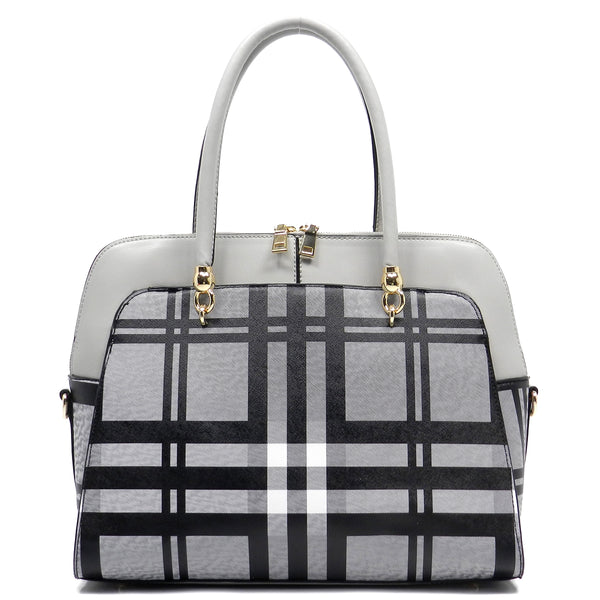 Checked Pattern Satchel [E0006F-GREY]