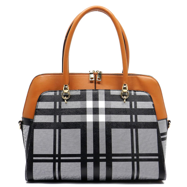 Checked Pattern Satchel [E0006F-TAN]