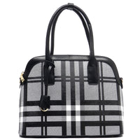 Checked Pattern Dome Satchel [E0007-BLACK]