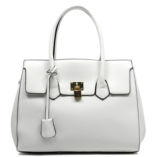 Kiss Lock Top Handle Satchel [T1590-WHITE]