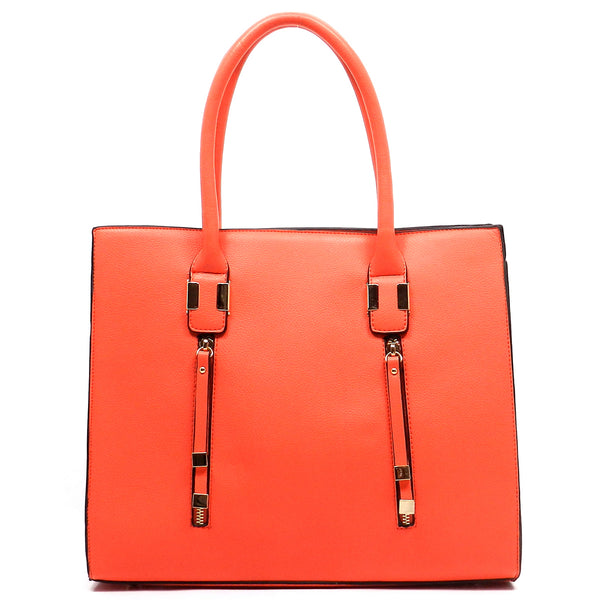 Fashion Zipper Box Satchel [JD1050-COR]