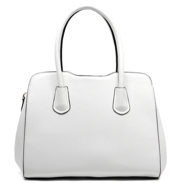 Kiss Lock Top Handle Satchel [T1614-WHITE]