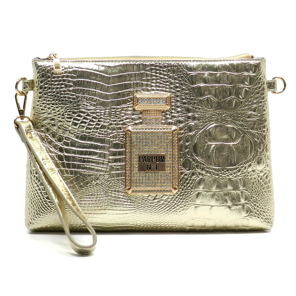 Croc Parpum Case Clutch [PC97136-CHAMPAGNE]