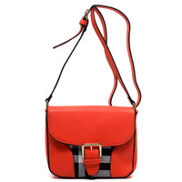 Checked Pattern Flap Top Cross Body Bag [E0019-RED]