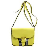 Checked Pattern Flap Top Cross Body Bag [E0019-YELLOW]