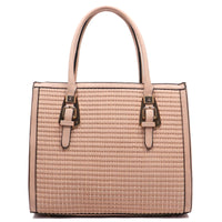 Buckle Top Handle Woven Box Satchel [LF083-PINK]