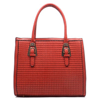 Buckle Top Handle Woven Box Satchel [LF083-RED]
