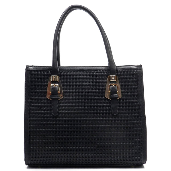 Buckle Top Handle Woven Box Satchel [LF083-BLACK]