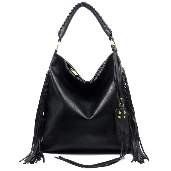Side Fringe Shoulder Bag [L0084-BLACK]