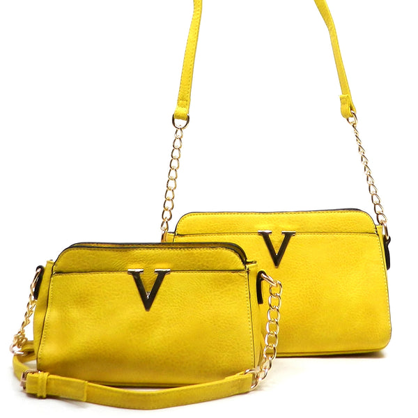 V Accented Cross Body Bag (2pcs Set) [LF1693-YELLOW]