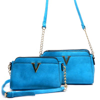 V Accented Cross Body Bag (2pcs Set) [LF1693-GREEN]