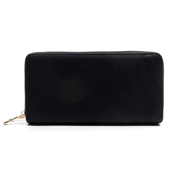 Fashion Double Zip Around Wallet Wristlet [SWAH6427L-BLACK]