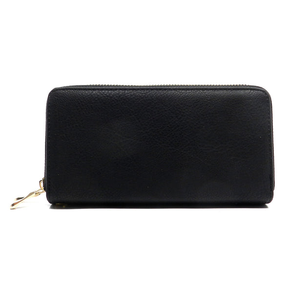 Fashion Double Zip Around Wallet Wristlet [SWAH6430L-BLACK]