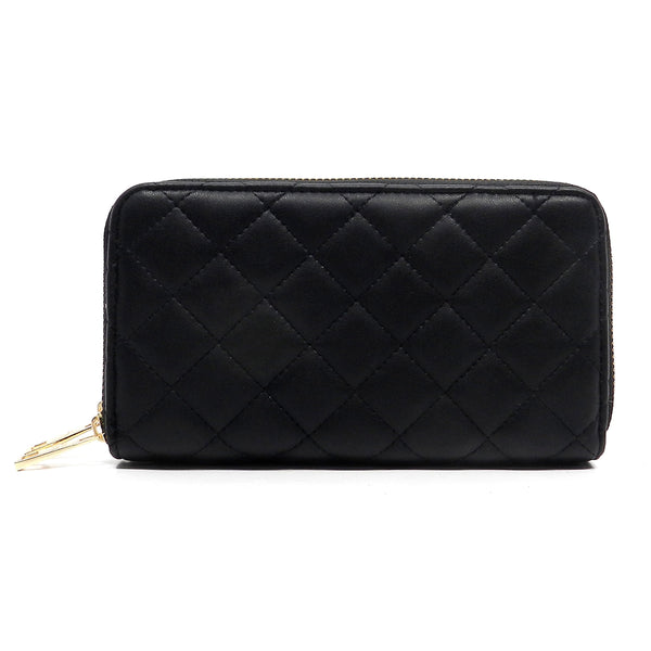 NX Quilted Double Zip Around Wallet [LM028Q-BLACK]
