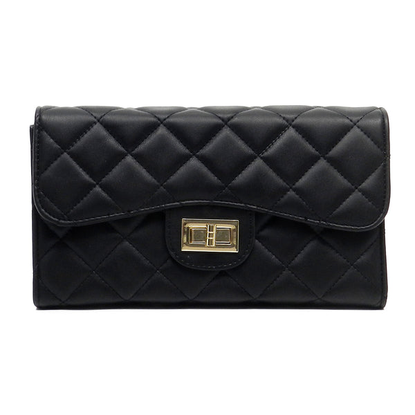 NX Quilted Twist Lock Clutch [LM2562Q-BLACK]