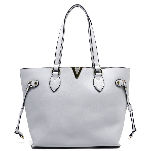 Textured V Accent 2-in-1 Bag [T1645-GREY]