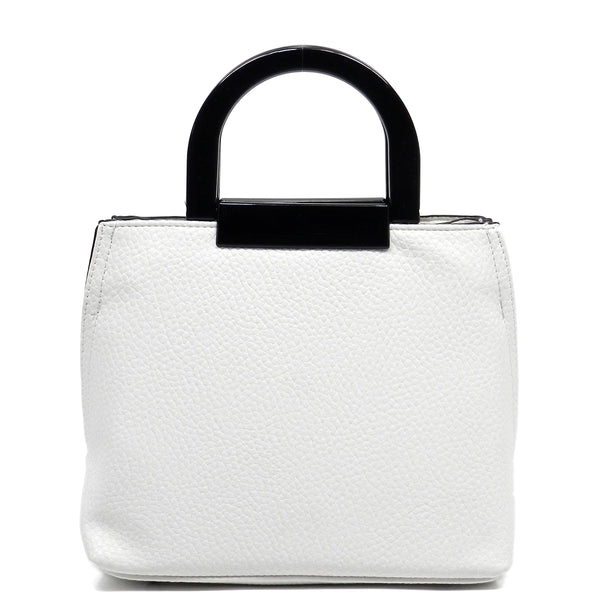 Acrylic Round Top Handle Cute Tote [FN101766-WHITE]