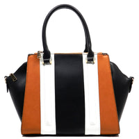Striped Top Handle Satchel [81130-TAN]