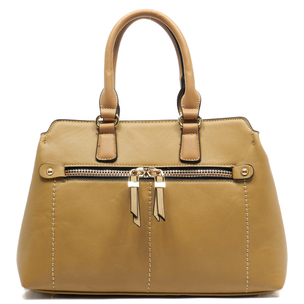 Fashion Zipper Top Handle Satchel [MY6196-KHAKI]