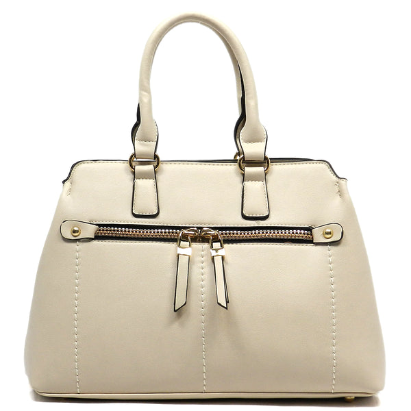 Fashion Zipper Top Handle Satchel [MY6196-BEIGE]